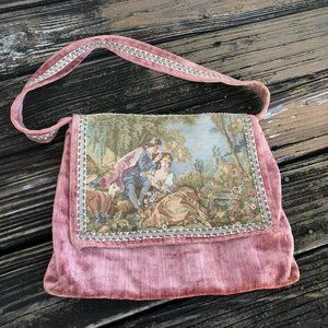 Vtg Carpetbags America Velvet Tapestry Purse Bag